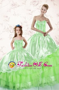 Glamorous Ball Gowns Organza Sweetheart Sleeveless Embroidery and Ruffled Layers Floor Length Lace Up Quince Ball Gowns