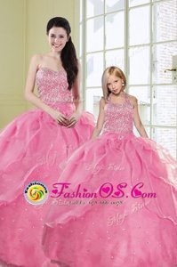 Clearance Sleeveless Floor Length Beading and Embroidery and Pick Ups Lace Up Sweet 16 Quinceanera Dress with Turquoise