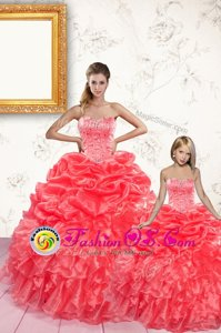 Customized Gold Ball Gowns Beading and Sequins Sweet 16 Quinceanera Dress Lace Up Organza Sleeveless Floor Length