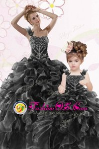 Affordable Black Organza Lace Up One Shoulder Sleeveless Floor Length Sweet 16 Dress Beading and Ruffles