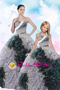 Attractive Taffeta Sleeveless Floor Length Quinceanera Dress and Sequins and Pick Ups