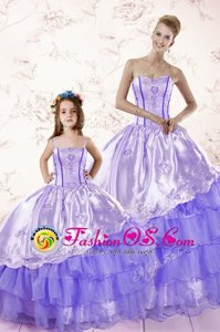 Lavender Ball Gowns Organza Sweetheart Sleeveless Embroidery and Ruffled Layers Floor Length Lace Up Sweet 16 Dresses
