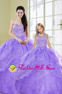 Custom Fit Sleeveless Lace Up Floor Length Beading Quinceanera Dresses