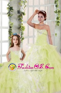 Light Yellow Ball Gowns Beading and Ruffled Layers and Ruching Quinceanera Gowns Lace Up Organza Sleeveless Floor Length