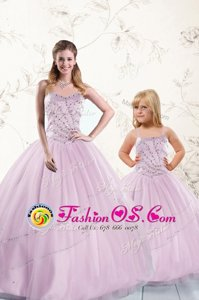 Dynamic Lilac Sweetheart Neckline Beading Quinceanera Dresses Sleeveless Lace Up