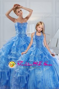 Baby Blue Ball Gowns Organza Sweetheart Sleeveless Beading and Ruffled Layers Floor Length Lace Up Quinceanera Gown