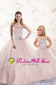 Sleeveless Floor Length Beading Lace Up Quince Ball Gowns with Baby Pink