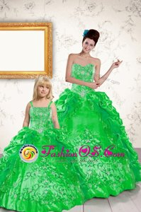 Sweetheart Sleeveless Quince Ball Gowns Floor Length Beading and Embroidery and Pick Ups Green Taffeta