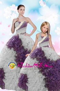 Sequins Floor Length Ball Gowns Sleeveless White And Purple Quinceanera Gown Lace Up
