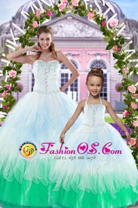Multi-color Sweetheart Lace Up Beading Quinceanera Gowns Sleeveless