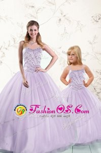Lavender Sleeveless Floor Length Beading Lace Up 15 Quinceanera Dress