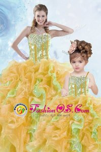 Multi-color Organza Lace Up Quinceanera Dresses Sleeveless Floor Length Beading and Ruffles and Sequins