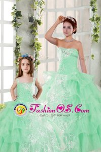 Beading and Ruffled Layers and Ruching Ball Gown Prom Dress Apple Green Lace Up Sleeveless Floor Length