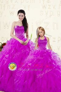 Affordable Purple Sleeveless Organza Lace Up Ball Gown Prom Dress for Military Ball and Sweet 16 and Quinceanera
