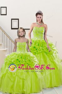 Sweetheart Sleeveless Organza Quince Ball Gowns Beading and Pick Ups Lace Up