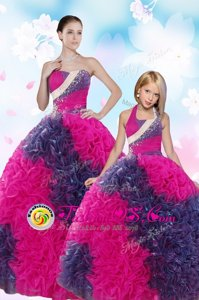Custom Designed Sequins and Pick Ups Quinceanera Gowns Multi-color Lace Up Sleeveless Floor Length