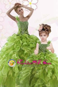Green Organza Lace Up One Shoulder Sleeveless Floor Length Quinceanera Gown Beading and Ruffles