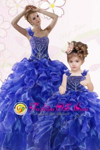 Romantic Royal Blue Lace Up One Shoulder Beading and Ruffles Quince Ball Gowns Organza Sleeveless
