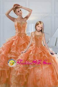 Orange Sleeveless Beading and Ruffled Layers Lace Up Sweet 16 Quinceanera Dress