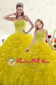 Glittering Red And Black Lace Up Sweetheart Beading and Ruffles 15 Quinceanera Dress Organza Sleeveless