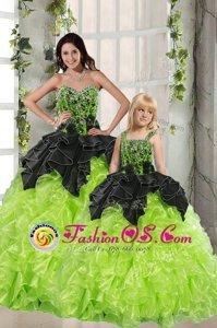 Green Sweet 16 Dresses Military Ball and Sweet 16 and Quinceanera and For with Beading and Ruffles Sweetheart Sleeveless Lace Up