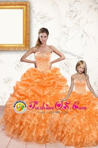 Trendy Orange Ball Gowns Organza Sweetheart Sleeveless Beading and Ruffles and Pick Ups Floor Length Lace Up Sweet 16 Dresses
