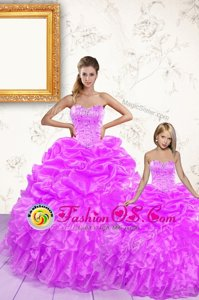 New Arrival Lilac Sleeveless Beading and Ruffles and Pick Ups Floor Length Quinceanera Dresses