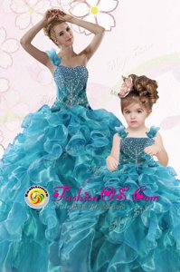 Inexpensive Green Sweetheart Lace Up Beading and Ruffles Quinceanera Dress Sleeveless