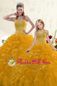 Fantastic Gold Ball Gowns Sweetheart Sleeveless Organza Floor Length Lace Up Beading and Ruffles Quinceanera Gowns