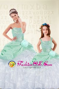 Sleeveless Floor Length Ruffled Layers Lace Up Sweet 16 Dress with Aqua Blue