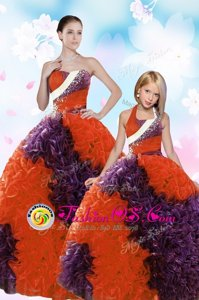 Orange Red Organza Lace Up Quinceanera Dresses Sleeveless Floor Length Beading and Ruffles