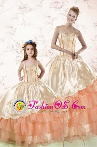 Embroidery and Ruffled Layers Sweet 16 Quinceanera Dress Peach Lace Up Sleeveless Floor Length