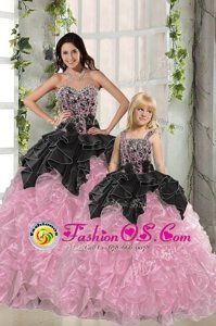 Noble Floor Length Pink And Black Ball Gown Prom Dress Organza Sleeveless Beading and Ruffles