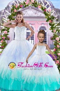 Multi-color Tulle Lace Up Sweetheart Sleeveless Floor Length Quince Ball Gowns Beading