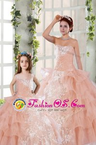 Best Selling Organza Strapless Sleeveless Lace Up Beading and Ruffled Layers and Ruching 15th Birthday Dress in Peach