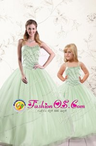 Unique Sleeveless Lace Up Floor Length Beading 15th Birthday Dress