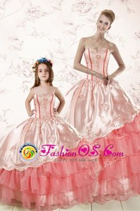 Organza Sweetheart Sleeveless Lace Up Embroidery and Ruffled Layers Quinceanera Gown in Watermelon Red