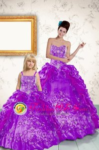 Pretty Sleeveless Lace Up Floor Length Beading and Embroidery and Pick Ups Quinceanera Dress