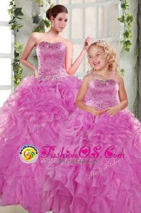 Colorful Lilac Lace Up Quince Ball Gowns Beading and Ruffles Sleeveless Floor Length