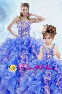 Excellent Sleeveless Organza Floor Length Lace Up Sweet 16 Dress in Multi-color for with Beading and Ruffles and Sequins