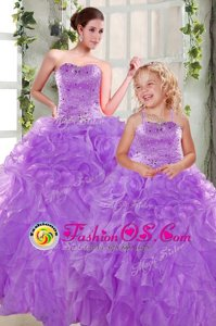 Pretty Beading and Ruffles 15th Birthday Dress Purple Lace Up Sleeveless Floor Length