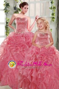 Free and Easy Rose Pink Strapless Lace Up Beading and Ruffles Sweet 16 Dress Sleeveless