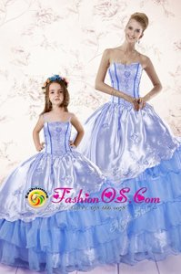 Classical Baby Blue Lace Up 15th Birthday Dress Beading and Ruffled Layers Sleeveless Floor Length