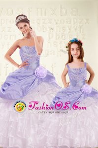 Dazzling Eggplant Purple Ball Gowns Beading and Ruffles Sweet 16 Dress Lace Up Organza Sleeveless Floor Length
