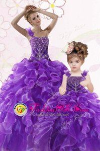 Fabulous Purple Sleeveless Beading and Ruffles Floor Length Quinceanera Dress