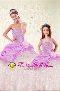Lilac Sleeveless Beading and Ruffled Layers and Hand Made Flower Floor Length 15 Quinceanera Dress