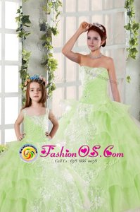 Ruffled Yellow Green Sleeveless Organza Lace Up Quinceanera Gowns for Military Ball and Sweet 16 and Quinceanera