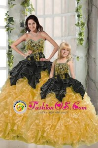Yellow Quinceanera Dresses Military Ball and Sweet 16 and Quinceanera and For with Beading and Ruffles Sweetheart Sleeveless Lace Up