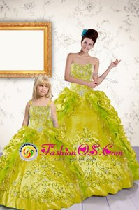 Classical Sweetheart Sleeveless Taffeta Quinceanera Gowns Beading and Embroidery and Pick Ups Lace Up