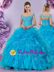 Ball Gowns Ball Gown Prom Dress Baby Blue Off The Shoulder Organza Sleeveless Floor Length Lace Up